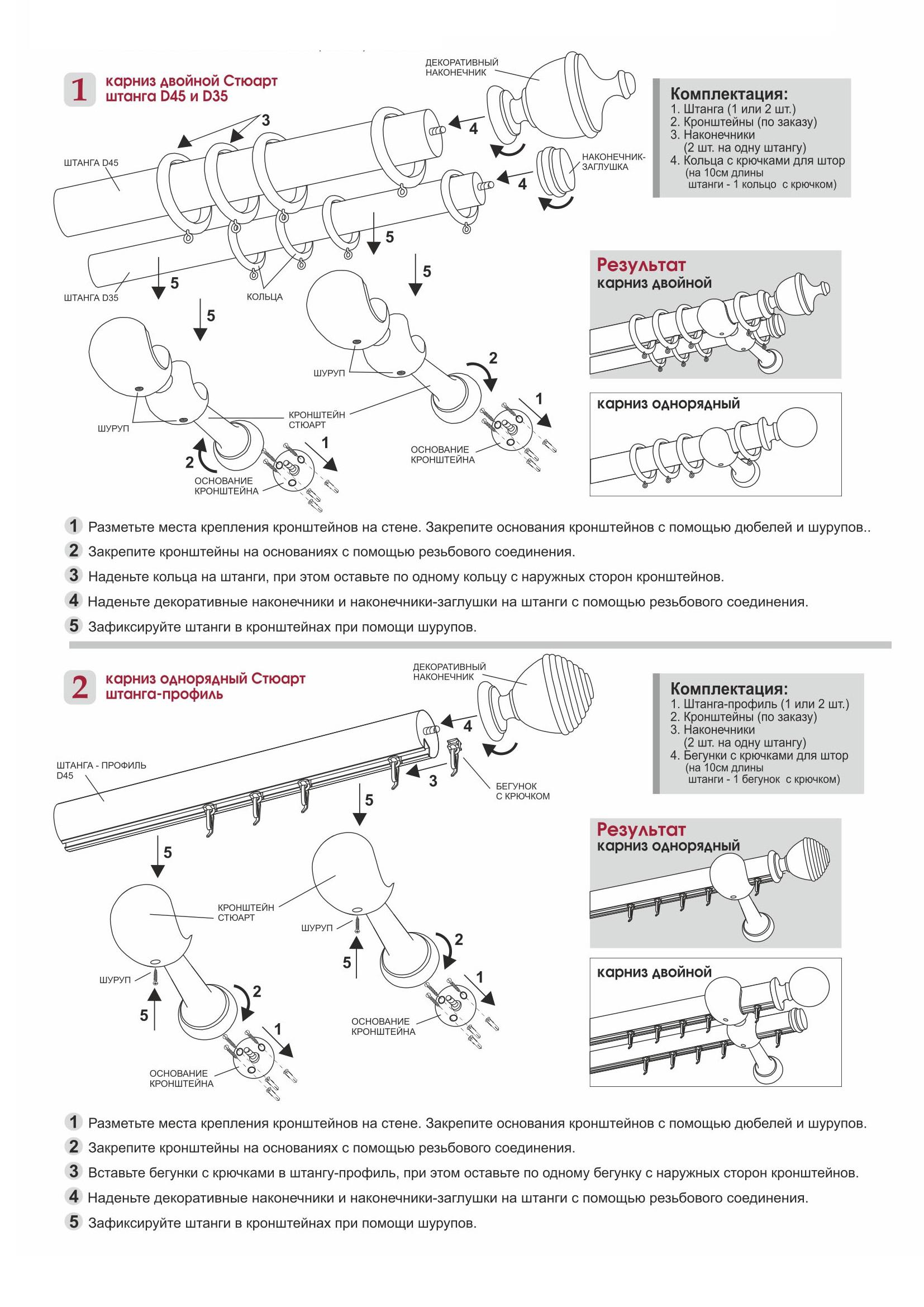 Схема сборки карнизов Стюарт