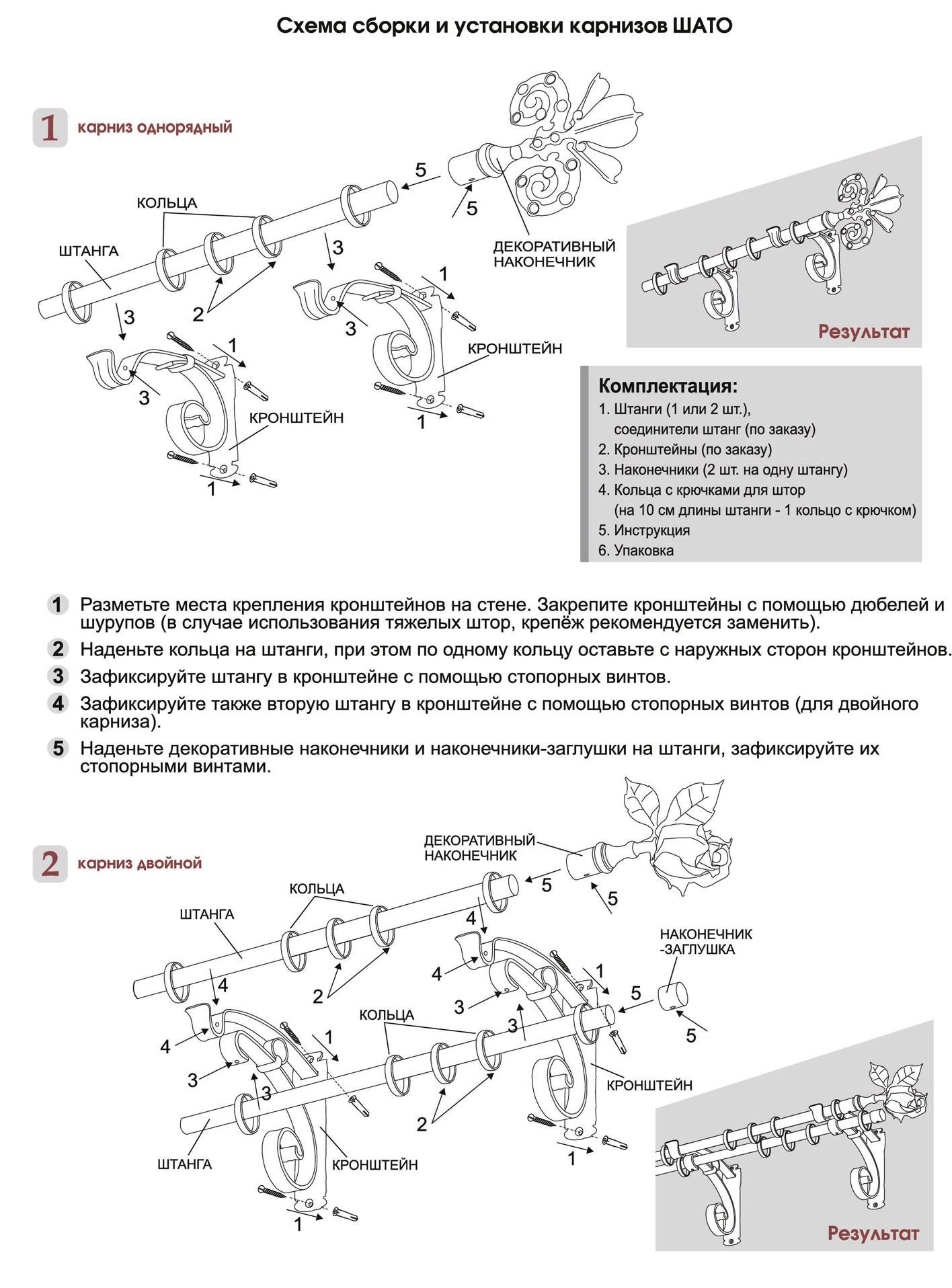 Схема сборки карнизов Шато